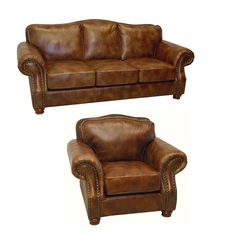 The Brandon Italian leather sofa and chair set is handcrafted using time-honored Old World techniques. This furniture features premium Italian leather and a durable hardwood frame.