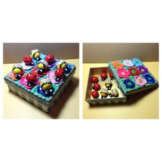 Polymer clay noughts and crosses...or ladybirds and bees...game by Lydia Quayle