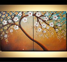 Original Modern Textured Art 40x24 Abstract  Palette Knife Blossom Tree Painting Landscape Ready to Hang Home Decor