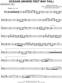 """Hillsong United """"Oceans (Where Feet May Fail) - C Instrument"""" Sheet Music (Flute, Violin, Oboe or Recorder) - I want to play this. Trombone Sheet Music, Cello Music, Violin Sheet, Piano Sheet Music, Music Sheets, Viola Sheet Music, Trumpet Sheet Music, Easy Sheet Music, Viola Noten"""