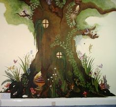 This is my most popular children's mural called The Magical Tree.  I love it because (that's all I ever find myself painting) it can be varies and customized according to whether the room is a boy's or a girl. Fairies can be replaced by scary insects and birds replaced by cute bunnies. Or... have em' all!