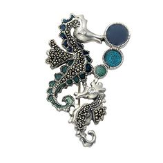 Sterling Silver Marcasite Seahorse and Baby Brooch with Blue and Green Enamel  Faceted Crystal Eyes >>> Check out this great product.