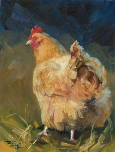 oil on board - Tiere Chicken Painting, Chicken Art, Chicken Tattoo, Rooster Painting, Rooster Art, Chickens And Roosters, Pet Chickens, Backyard Chickens, Paintings I Love