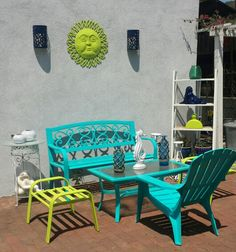 Colorful Outdoor Patio Furniture, Turquoise, Lime Green, Navy Blue, Outdoor  Sitting Area