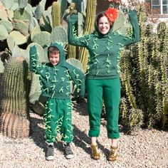 Use green sweat pants and these simple tricks to make DIY cactus costume for Halloween.