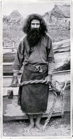 Portrait an Ainu man, a fisherman, standing beside a boat, - ainu-people-hokkaido. Ainu People, People Of The World, Portraits, Tribal Art, First Nations, Anthropology, Historical Photos, Japanese Art, Traditional Art