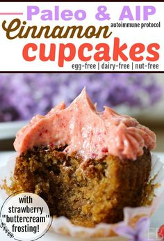 """Cinnamon Cupcakes with Strawberry """"Buttercream"""" Frosting Paleo & AIP - Eat Beautiful Paleo Cupcakes, Cinnamon Cupcakes, Mocha Cupcakes, Gourmet Cupcakes, Strawberry Cupcakes, Easter Cupcakes, Velvet Cupcakes, Flower Cupcakes, Christmas Cupcakes"""