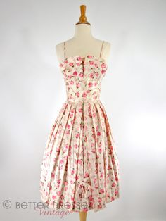 Vintage 1950s Pink Silk Floral Party Dress with Nipped Waist and Crumb Catcher Shelf Bust - sm by Better Dresses Vintage
