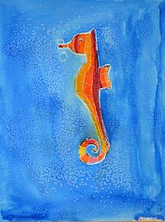 Sea horse crayon resist...plus a little salt affect on the watercolor paint!