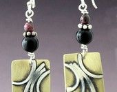 Sterling Silver and Brass Scroll earrings with beads