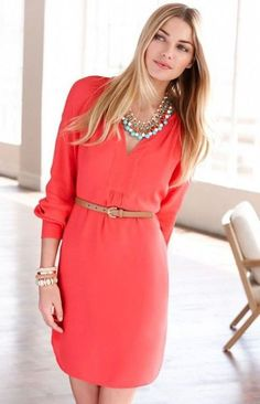 Classical red dress with a leather belt.