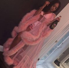 """Turn heads for Valentine's day, lingerie party, or slumber party in this GLAMOROUS robe. Handmade in Michigan Custom light pink robe with fur trim all around. Please include your bra size and height, in the """"notes/instruction"""" box, at checkout. Lingerie Party, Lingerie Outfits, Sexy Lingerie, Glamouröse Outfits, Fashion Outfits, Womens Fashion, Party Outfits, Trendy Outfits, Vegas Outfits"""
