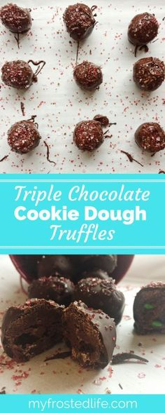 These tasty Triple Chocolate Cookie Dough truffles take cookie dough truffles to the next level. They feature edible chocolate cookie dough studded with mini chocolate chips and mini m&m's, covered in chocolate and decorated with sprinkles. A perfect dessert for parties or holidays, these easy no bake truffles are an awesome mini treat for any chocolate lover or cookie dough fan! Make the recipe today and bite into one of these sweet treats and be in chocolate cookie dough heaven!