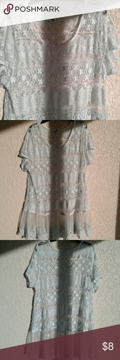 One Clothing Light Blue Lace Top size 2X Light blue lace top, size 2X one clothing Tops