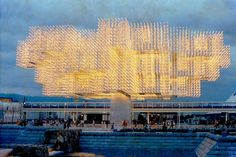 """Osaka Expo '70 - Switzerland Pavilion, """"Tree of Light"""" in front of the Swiss Pavilion.  height was about 21 metres, his largest outer range 55 metres. The 32000 bulbs display their effect only in the evening"""