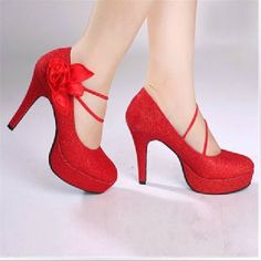 Satin Flower Pumps Sparkling Glitter T-Ties Round Closed Toe Platform Wedding Shoe