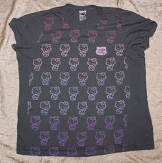 Torrid Sanrio 4X Hello Kitty Graphic Tee Shirt Gray with Pink Ombre Kitties