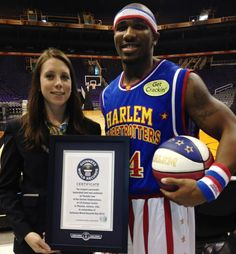 Thunder Law nailed a long-range shot from 109 feet and 9 inches away from the hoop for a new Guinness World Record! See the Harlem Globetrotters at the Spokane Arena February 18, 2014! Tickets available at Ticketswest!