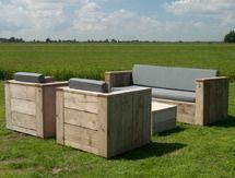 Gartenset Eckbank aus unbehandeltem Gerüstholz mit Tisch Lounge ...