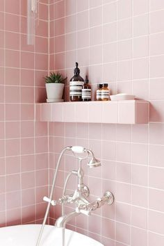 Is this your dream pink bathroom? - Studio – Pink bathroom look: Tile Giant Victorian Pink tiles and products from Victoria + Alb - Pink Bathroom Tiles, Mold In Bathroom, Pink Tiles, Bathroom Fixtures, Small Bathroom, Pastel Bathroom, Glass Bathroom, Bathroom Cabinets, Bathroom Storage