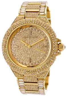 Michael Kors Women\u0027s +White+Swarovski+Crystal+Pave+Gold+Dial+Gold+Tone+IP+SS+With+White+Swarovski+Crystals
