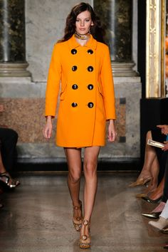 @EmilioPucci #Primavera #2015  I'm not a big fan of orange, anywhere...but this is really wonderful.  And I love the oversized buttons!