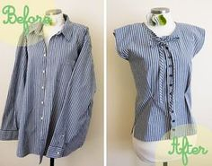 Make a men's button-up into a women's blouse-- A Fashionable Stitch Mens Button Up, Button Up Shirts, Sewing Clothes, Diy Clothes, Blouse Refashion, Umgestaltete Shirts, Recycled Shirts, Diy For Men, Refashioning