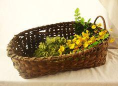 Vintage Gathering Basket Antique Woven Basket by Vintassentials