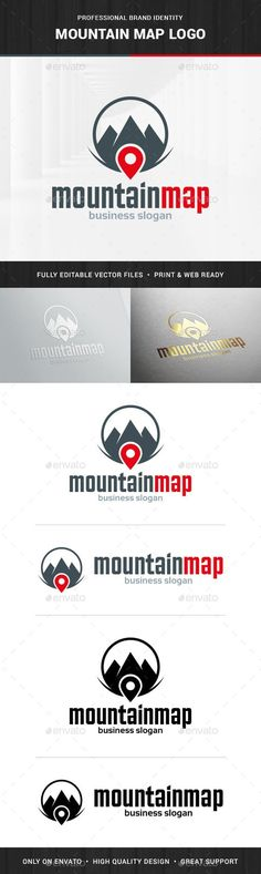 Mountain Map Logo Template,agency, app, business, company, find, finder, gear, hike, hiking, icon, location, locator, logo, map, maps, mountain, pin, software, top, tracker, travel, vector