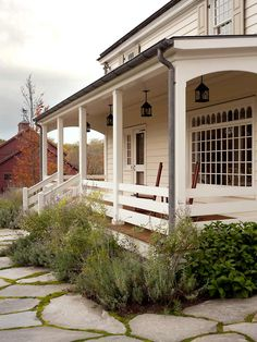 New England 18th Century Farm House - porch, windows, shutters, lights, walkway