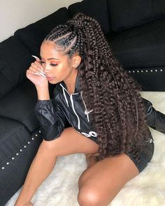 23 Popular Hairstyles for Black Women to Try in 2020 – Page 6 – Healthick Box Braids Hairstyles For Black Women, Braided Ponytail Hairstyles, Dope Hairstyles, Black Girl Braids, Braids For Short Hair, Braids For Black Women, African Braids Hairstyles, Girls Braids, Popular Hairstyles