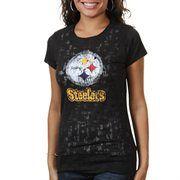 Pittsburgh Steelers Women's Dream II Premium Burnout T-Shirt - Black
