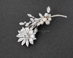 Petite Wedding Bridal Barrette Ivory Pearls Rhinestone Floral Crystal Silver Rose Gold Flower Girl Clip Mini