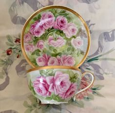 French Limoges Cup Saucer Haviland France Hand Painted Roses  | eBay