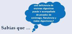 #salud. ¿Sabías que una deficiencia de enzimas digestivas puede ir acompañada de pesades de estómago, flatulencia y malas digestiones?