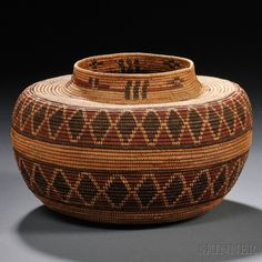 Kawaiisu Polychrome Coiled Basket | Tightly woven bottleneck form with two diamondback rattlesnake bands and cross devices below the rim