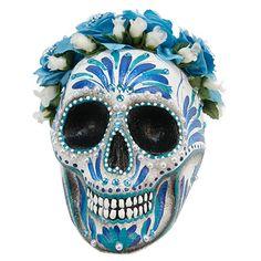 Proyectos |Calavera azul decorada con pinceledas y flores