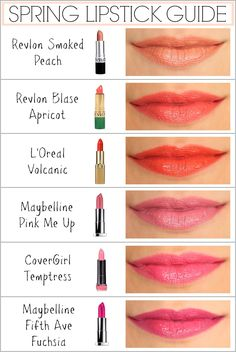 spring lipstick guide - revlon, l'oreal, maybelline, covergirl | Penny Pincher Fashion Lipstick Swatches, Lipstick Colors, Makeup Lipstick, Lipstick Names, Lipstick Guide, Orange Lipstick, Drugstore Lipstick, Summer Lipstick, Revlon Lipstick Shades