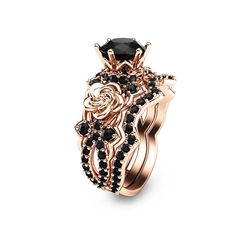 """Black Diamond Gold Engagement Ring Set Rose Gold Flower Engagement Rings Unique Natural Black Diamond Rings - Camellia Jewelry - For That """"Yes"""" Moment Gold Wedding Rings, Bridal Rings, Diamond Wedding Bands, Wedding Jewelry, Diamond Rings, Black Diamond Jewelry, Raw Diamond, Wedding Set, Black Diamond Engagement"""