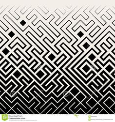 Vector Seamless Black & White Square Maze Lines Halftone Pattern Background Geometric Patterns, Geometric Mandala, Geometric Designs, Cool Patterns, Textures Patterns, Tessellation Patterns, Halftone Pattern, Muster Tattoos, Sacred Geometry