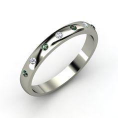Button Band - Platinum Ring with Alexandrite & Diamond   Gemvara