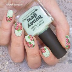 Mint, Gold, and Red Floral Nails.