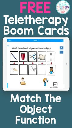 These FREE digital task cards target matching objects with their function.  These fun and engaging boom cards are perfect for teletherapy and distance learning!  Great for children with Autism!