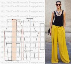 Wide leg palazzo pants to sew. Diy Clothing, Clothing Patterns, Dress Patterns, Fashion Sewing, Diy Fashion, Ideias Fashion, Sewing Pants, Sewing Clothes, Diy Pantalon