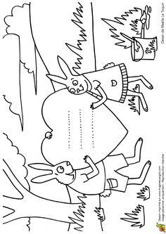 Illustration d'un enfant lapin offrant un cœur à sa maman, à colorier