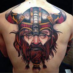 Viking tattoo ShioZaragoza neotraditional warrior viking scandinavian