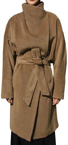 Camel Oversized Collar Wool & Cashmere Coat