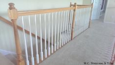 Before the iron baluster upgrade from M.C. Staircase & Trim. Removal of wooden baluster and installation of Single Twists, Single Baskets with an accenting Nautilus Scroll in Satin Black.