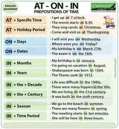 Bildergebnis für Prepositions of Time