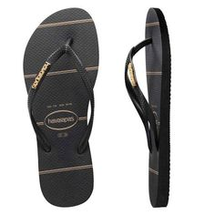 74fe5540c21f Havaianas Slim Metal Logo Fine Lines Black Black Gold. It brings the best  out in black and gold